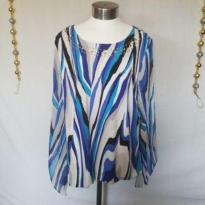 Alfani striped blouse size XL